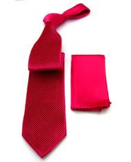 Antonio Ricci Diagonal Pleated Tie with Pocket Square - Fuchsia Pink