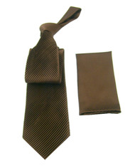 Antonio Ricci Diagonal Pleated Tie with Pocket Square - Brown