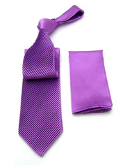 Antonio Ricci Diagonal Pleated Tie with Pocket Square - Lavender