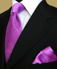 Antonio Ricci Diagonal Pleated Tie with Pocket Square - Lavender