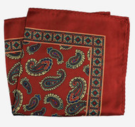 100% Silk Pocket Square - Rich Dark Red Paisleys 12.5 x 12.5