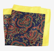 100% Silk Pocket Square - Yellow with Navy Paisleys 12.5 x 12.5