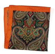 100% Silk Pocket Square - Orange with Navy & Green Paisleys 12.5 x 12.5