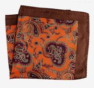 100% Silk Pocket Square - Brown with Orange Paisleys 12.5 x 12.5
