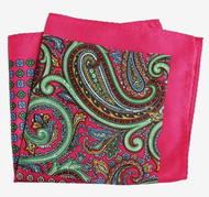 100% Silk Pocket Square -Hot Pink Paisley & Floral Design 12.5 x 12.5