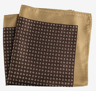100% Silk Pocket Square -Brown & Tan Petite Paisleys 12.5 x 12.5