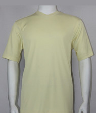 Bassiri Short Sleeve V-Neck Ribbed Jersey Knit Tee - Light Yellow