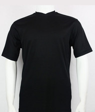 Bassiri Short Sleeve V-Neck Ribbed Jersey Knit Tee - Black
