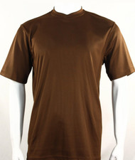 Bassiri Short Sleeve V-Neck Ribbed Jersey Knit Tee - Cognac
