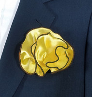 Antonio Ricci 2-in-1 Pouf Pocket Square - Brown on Yellow-Gold