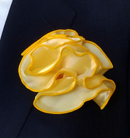 Antonio Ricci 2-in-1 Pouf Pocket Square - Gold on Yellow