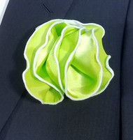 Antonio Ricci 2-in-1 Pouf Pocket Square - White on Bright Green