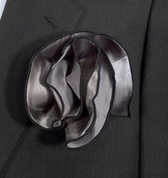 Antonio Ricci 2-in-1 Pouf Pocket Square - Black on Tungsten Grey
