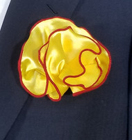 Antonio Ricci 2-in-1 Pouf Pocket Square - Red on Yellow