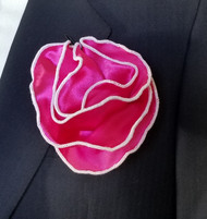 Copy of Antonio Ricci 2-in-1 Pouf Pocket Square - White on Hot Pink