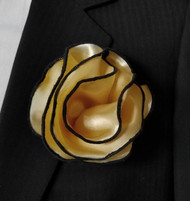 Antonio Ricci 2-in-1 Pouf Pocket Square - Black on Golden Tan