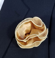 Antonio Ricci 2-in-1 Pouf Pocket Square - Light Tan Trim on Tan