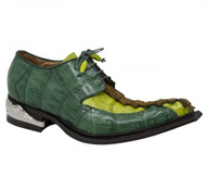 Mauri Genuine Green Baby Crocodile and Hornback Italian Dress Shoe