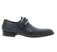 Mauri Genuine Smoke Blue Hornback Italian Buckle Dress Shoe