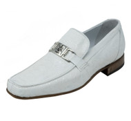 Mauri White Genuine Ostrich Leg Loafer
