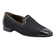 Mauri Black Jacquard Fabric & Genuine Lizard Loafer