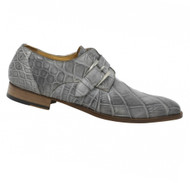 Mauri Genuine Smoke Grey Alligator Italian Buckle Dress Shoe