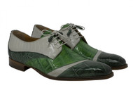 Mauri Genuine Green & Grey Alligator & Ostrich Italian Dress Shoe