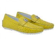 Mauri Yellow Genuine Ostrich Quill Moc Driver Loafer