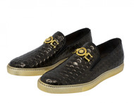Mauri Embossed Brown Leather Slip-On Sneaker Loafer