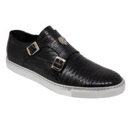 Mauri Genuine Black Lizard Dual Buckle Slip-On Sneaker
