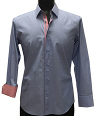 St. Cado Blue Contrasting Salmon Inner Cuff & Placket Fashion Shirt
