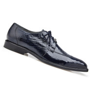 Belvedere 100% Genuine Ostrich Leg Dress Tie Shoe - Navy
