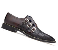 Belvedere Genuine Caiman Croc and Calf Monk Dress Shoe