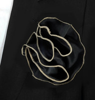 Antonio Ricci 2-in-1 Pouf Pocket Square -Champagne Tone on Black