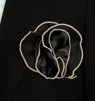 Antonio Ricci 2-in-1 Pouf Pocket Square - Light Tan on Black