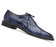 Belvedere Genuine Ostrich Leg Wing-Tip Dress Shoe - Blue