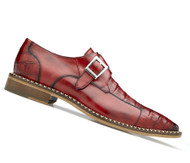 Belvedere Genuine Caiman Croc and Calf Buckle Dress Shoe - Red