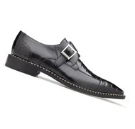 Belvedere Genuine Caiman Croc and Calf Buckle Dress Shoe - Black