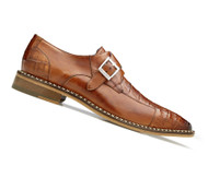 Belvedere Genuine Caiman Croc and Calf Buckle Dress Shoe - Almond