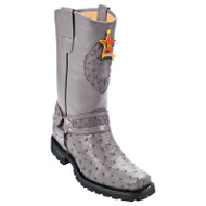 Los Altos Genuine Ostrich Quill Tall Biker Boot - Grey