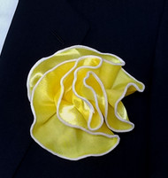 Antonio Ricci 2-in-1 Pouf Pocket Square - White on Bright Yellow