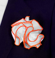 Antonio Ricci 2-in-1 Pouf Pocket Square - Dark Orange on White