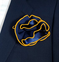 Antonio Ricci 2-in-1 Pouf Pocket Square - Bright Gold on Navy