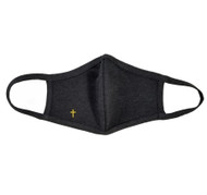 Adult - Charcoal Cotton Face Covering Mask - Gold Religious Cross