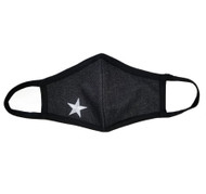 Adult -Denim Cotton Face Covering Mask - White Star Applique