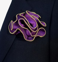 Antonio Ricci 2-in-1 Pouf Pocket Square - Tan on Purple