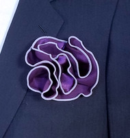 Antonio Ricci 2-in-1 Pouf Pocket Square - Lilac Purple on Dark Purple