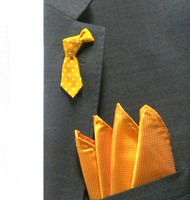 Antonio Ricci Fashion Mini Necktie Lapel Pin & Pocket Square - Yellow Polka Dot