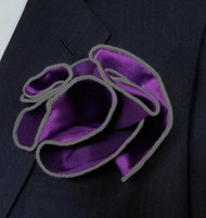 Antonio Ricci 2-in-1 Pouf Pocket Square - Charcoal on Dark Purple