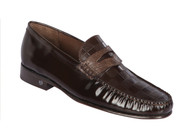Lombardy - Genuine Teju Lizard Check Pattern Penny Loafer - Brown